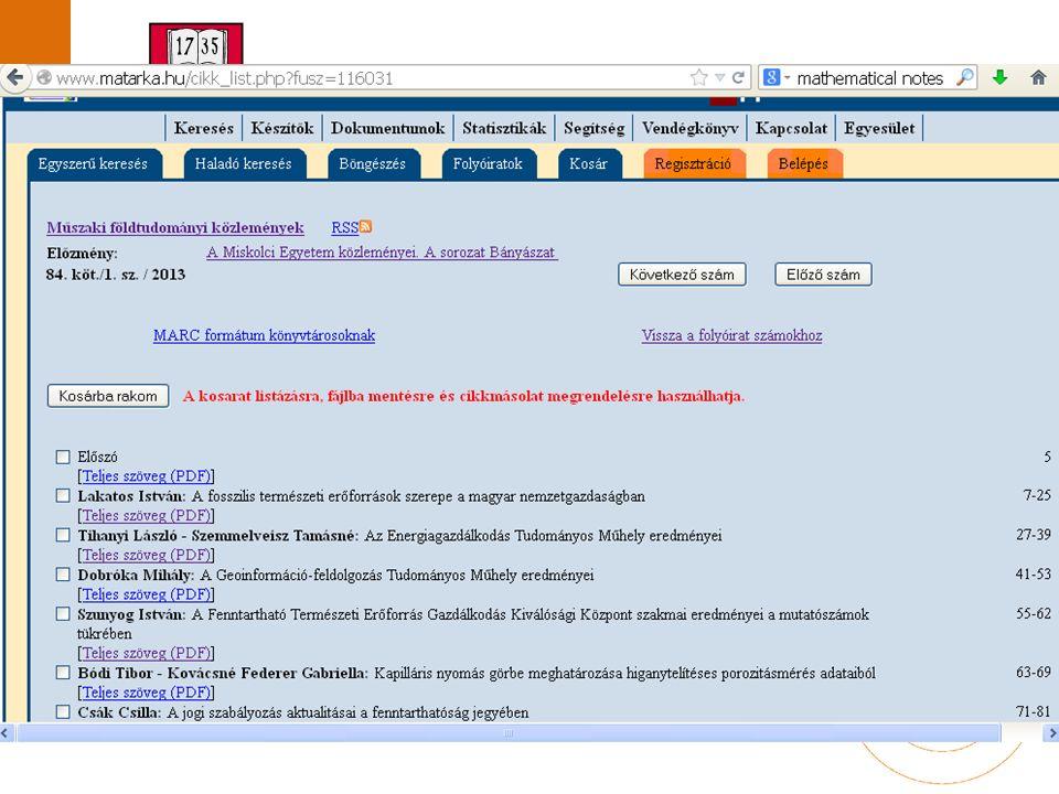 Miskolci Egyetem közleményei  Saját honlap  MATARKA Miskolci Egyetem