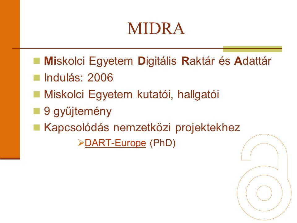 Miskolci Egyetem Digitális Raktár és Adattár Indulás: 2006 Miskolci Egyetem kutatói, hallgatói 9 gyűjtemény Kapcsolódás nemzetközi projektekhez  DART-Europe (PhD) DART-Europe MIDRA