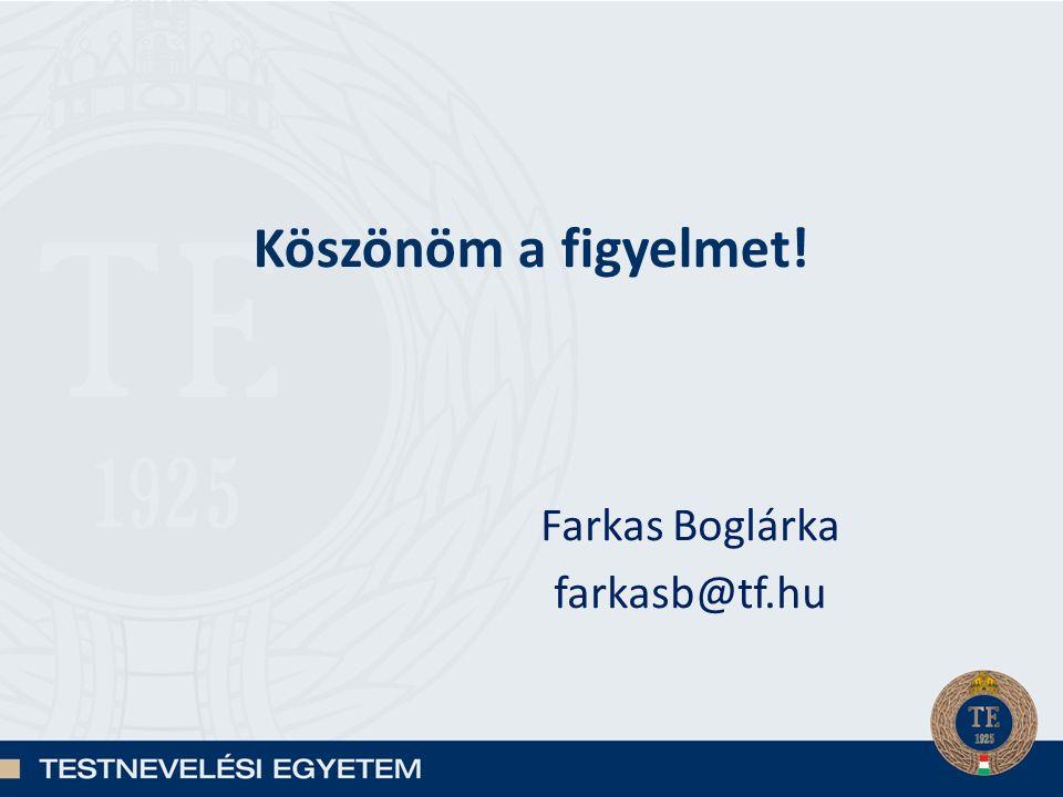 Köszönöm a figyelmet! Farkas Boglárka farkasb@tf.hu