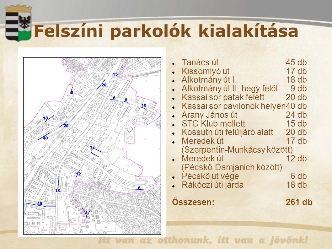 Felszíni parkolók kialakítása Tanács út 45 db Kissomlyó út 17 db Alkotmány út I.18 db Alkotmány út II.