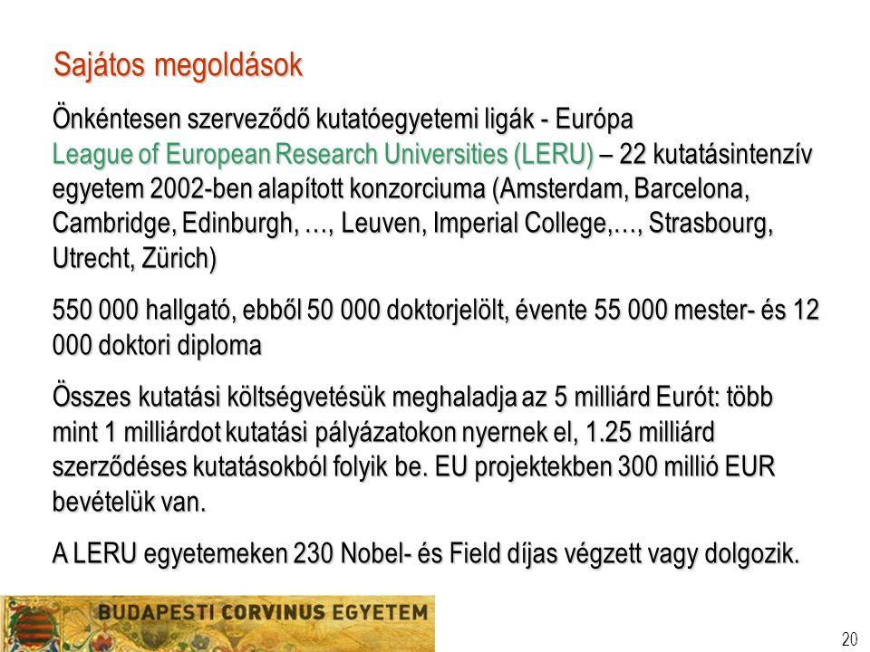 20 Sajátos megoldások Önkéntesen szerveződő kutatóegyetemi ligák - Európa League of European Research Universities (LERU) – 22 kutatásintenzív egyetem 2002-ben alapított konzorciuma (Amsterdam, Barcelona, Cambridge, Edinburgh, …, Leuven, Imperial College,…, Strasbourg, Utrecht, Zürich) 550 000 hallgató, ebből 50 000 doktorjelölt, évente 55 000 mester- és 12 000 doktori diploma Összes kutatási költségvetésük meghaladja az 5 milliárd Eurót: több mint 1 milliárdot kutatási pályázatokon nyernek el, 1.25 milliárd szerződéses kutatásokból folyik be.