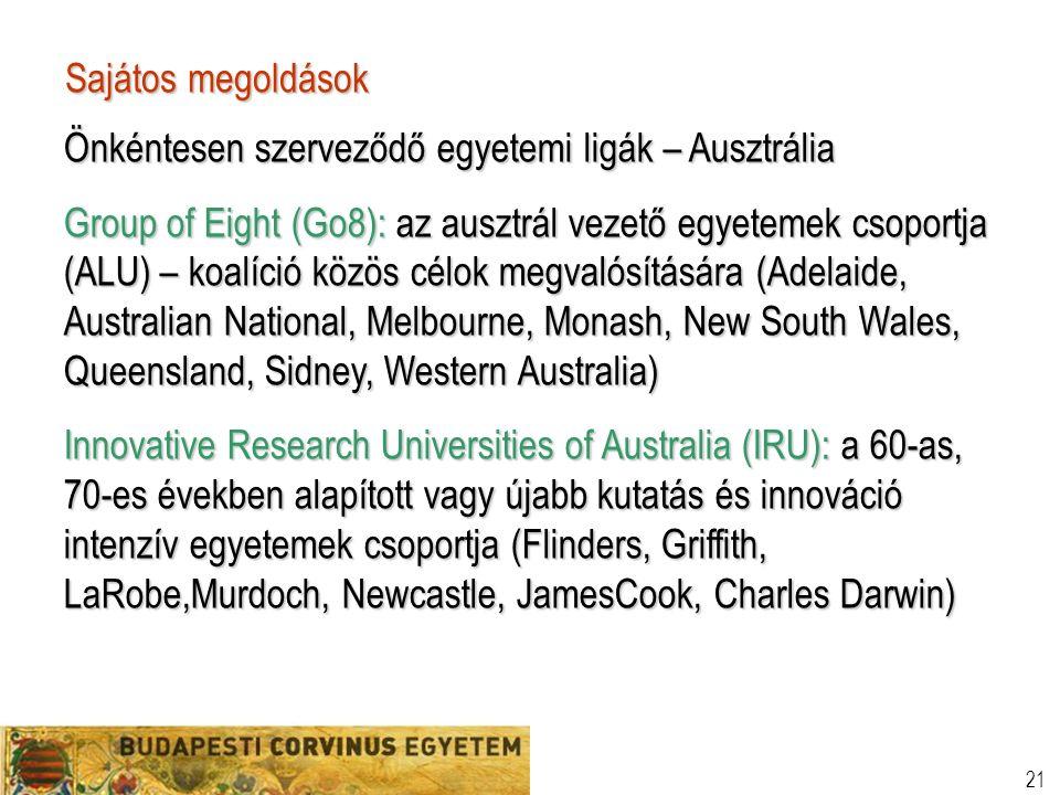 21 Sajátos megoldások Önkéntesen szerveződő egyetemi ligák – Ausztrália Group of Eight (Go8): az ausztrál vezető egyetemek csoportja (ALU) – koalíció közös célok megvalósítására (Adelaide, Australian National, Melbourne, Monash, New South Wales, Queensland, Sidney, Western Australia) Innovative Research Universities of Australia (IRU): a 60-as, 70-es években alapított vagy újabb kutatás és innováció intenzív egyetemek csoportja (Flinders, Griffith, LaRobe,Murdoch, Newcastle, JamesCook, Charles Darwin)
