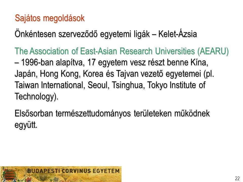 22 Sajátos megoldások Önkéntesen szerveződő egyetemi ligák – Kelet-Ázsia The Association of East-Asian Research Universities (AEARU) – 1996-ban alapítva, 17 egyetem vesz részt benne Kína, Japán, Hong Kong, Korea és Tajvan vezető egyetemei (pl.