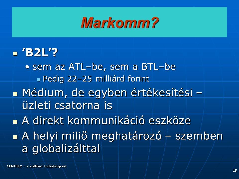 CENTREX - a kiállítási tudásközpont 15 Markomm. 'B2L'.