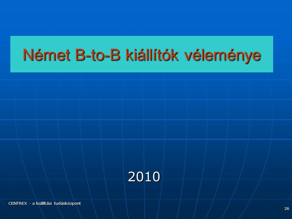 CENTREX - a kiállítási tudásközpont 26 Német B-to-B kiállítók véleménye 2010