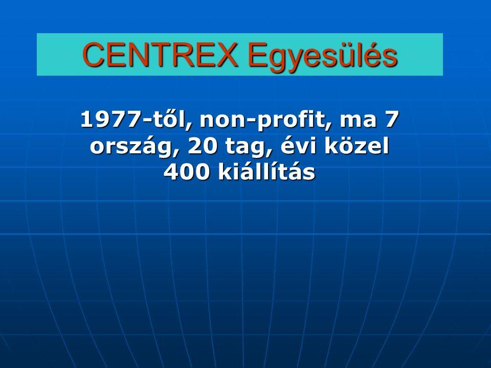 CENTREX Egyesülés 1977-től, non-profit, ma 7 ország, 20 tag, évi közel 400 kiállítás