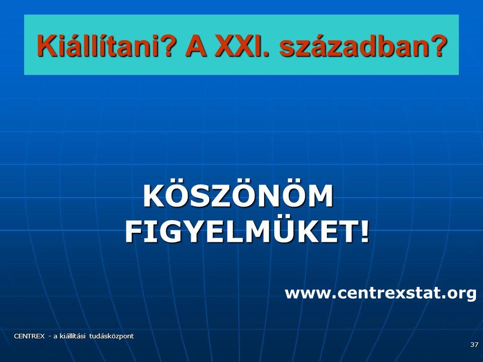 CENTREX - a kiállítási tudásközpont 37 Kiállítani.