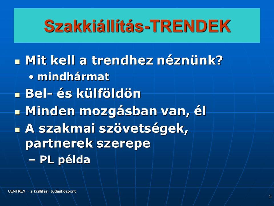 CENTREX - a kiállítási tudásközpont 5 Szakkiállítás-TRENDEK Mit kell a trendhez néznünk.
