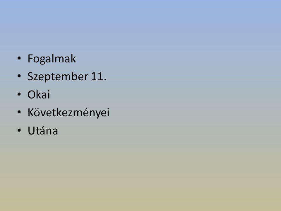 Fogalmak Szeptember 11. Okai Következményei Utána