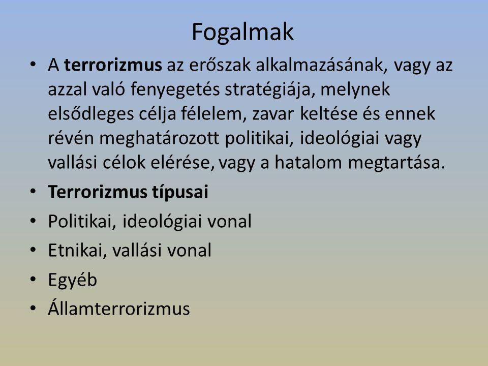 Fogalmak A terrorizmus az erőszak alkalmazásának, vagy az azzal való fenyegetés stratégiája, melynek elsődleges célja félelem, zavar keltése és ennek révén meghatározott politikai, ideológiai vagy vallási célok elérése, vagy a hatalom megtartása.