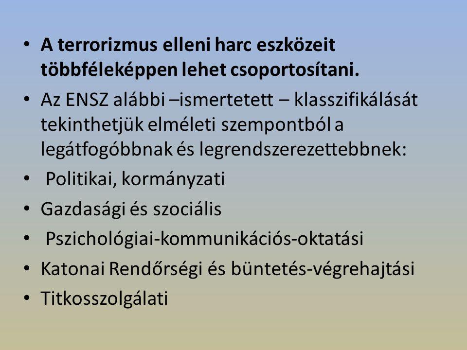 A terrorizmus elleni harc eszközeit többféleképpen lehet csoportosítani.