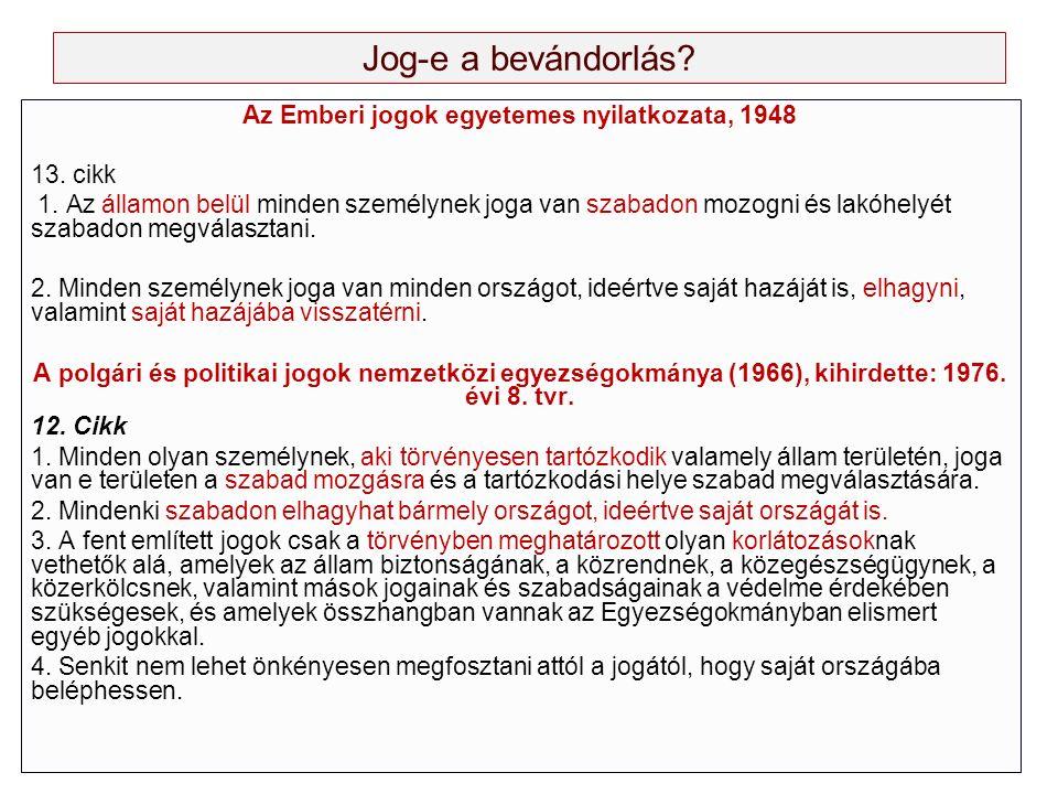 Jog-e a bevándorlás? Az Emberi jogok egyetemes nyilatkozata, 1948 13. cikk 1. Az államon belül minden személynek joga van szabadon mozogni és lakóhely