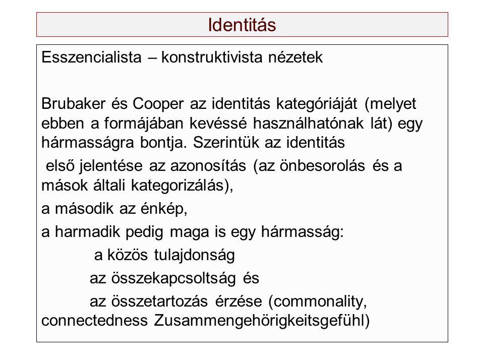 Identitás Esszencialista – konstruktivista nézetek Brubaker és Cooper az identitás kategóriáját (melyet ebben a formájában kevéssé használhatónak lát)