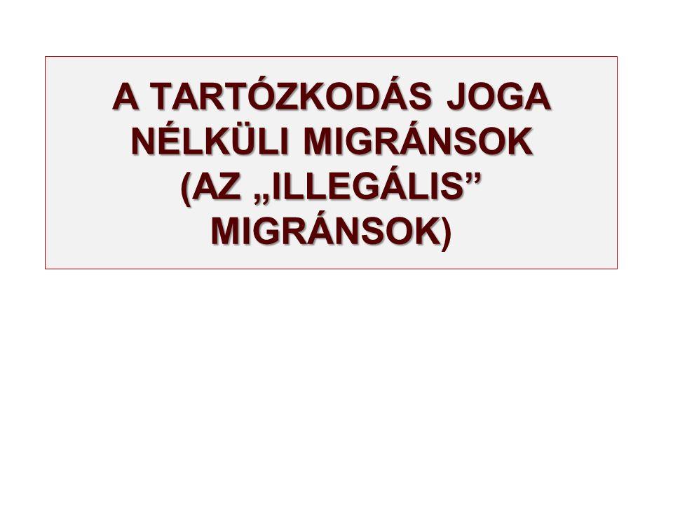 """A TARTÓZKODÁS JOGA NÉLKÜLI MIGRÁNSOK (AZ """"ILLEGÁLIS"""" MIGRÁNSOK A TARTÓZKODÁS JOGA NÉLKÜLI MIGRÁNSOK (AZ """"ILLEGÁLIS"""" MIGRÁNSOK)"""