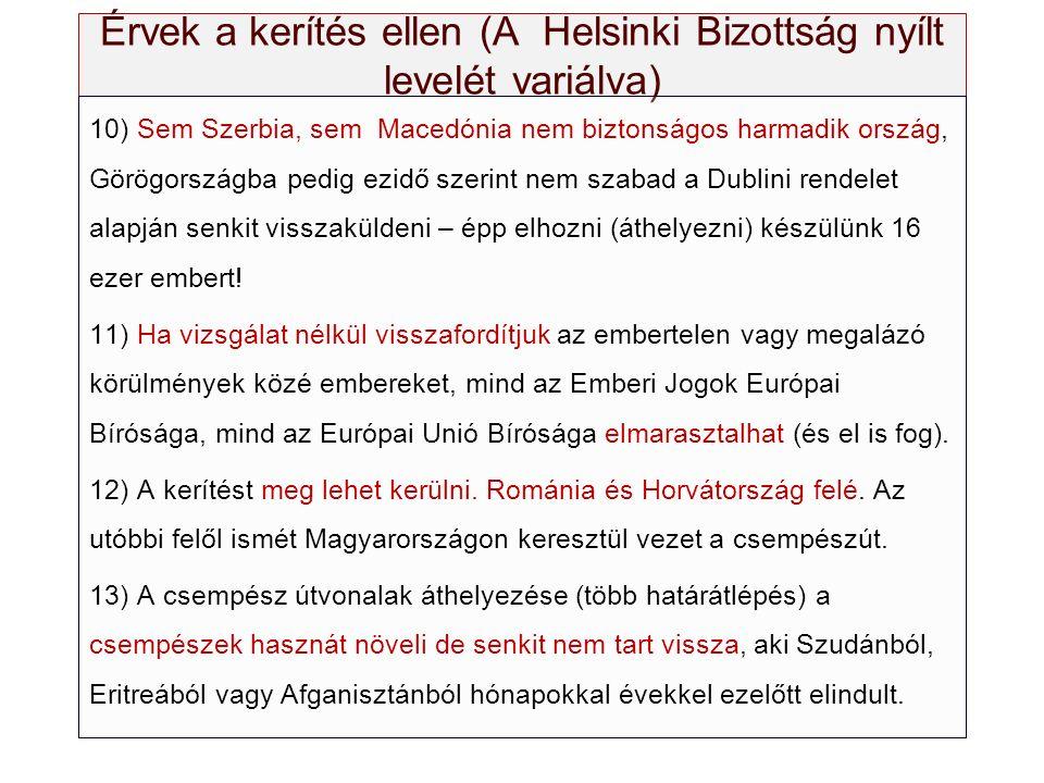 Érvek a kerítés ellen (A Helsinki Bizottság nyílt levelét variálva) 10) Sem Szerbia, sem Macedónia nem biztonságos harmadik ország, Görögországba pedi
