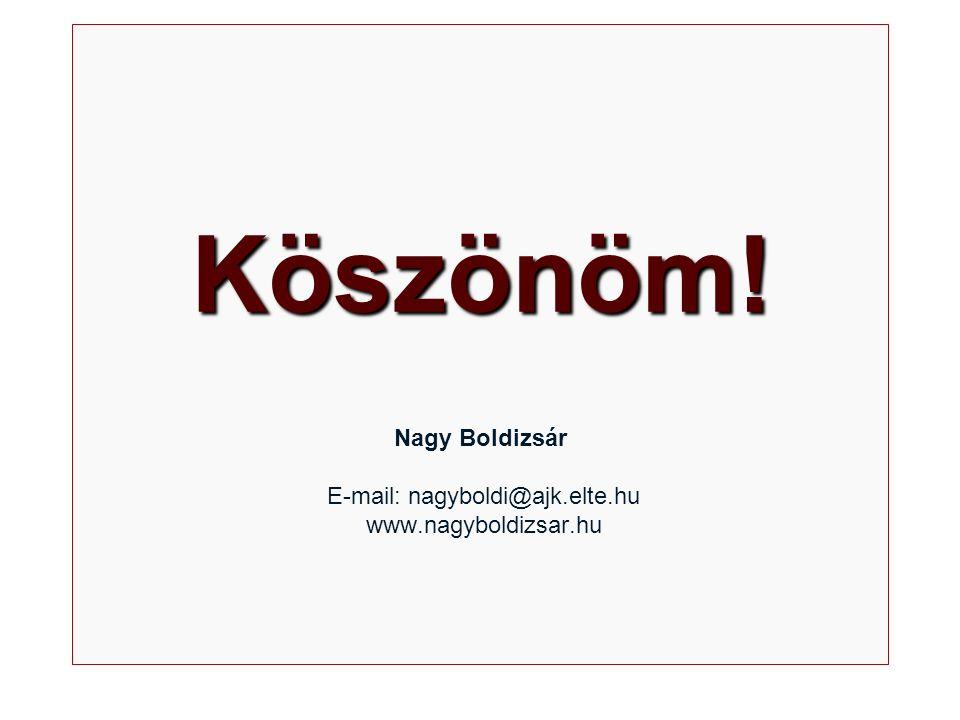 Köszönöm! Köszönöm! Nagy Boldizsár E-mail: nagyboldi@ajk.elte.hu www.nagyboldizsar.hu