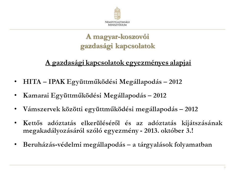 7 A magyar-koszovói gazdasági kapcsolatok A gazdasági kapcsolatok egyezményes alapjai HITA – IPAK Együttműködési Megállapodás – 2012 Kamarai Együttműködési Megállapodás – 2012 Vámszervek közötti együttműködési megállapodás – 2012 Kettős adóztatás elkerüléséről és az adóztatás kijátszásának megakadályozásáról szóló egyezmény - 2013.