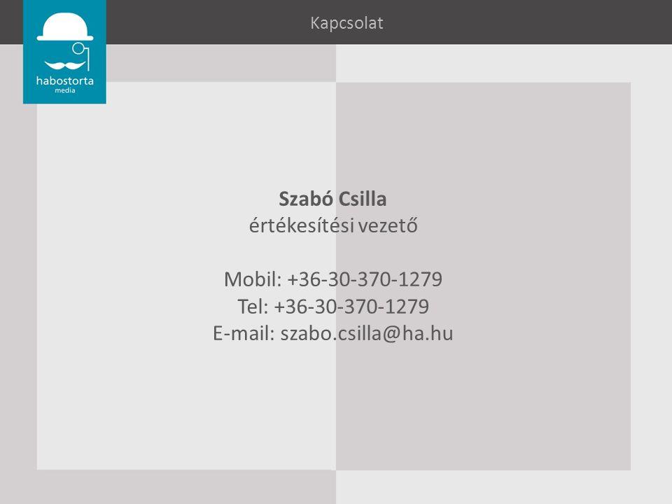 Kapcsolat Szabó Csilla értékesítési vezető Mobil: +36-30-370-1279 Tel: +36-30-370-1279 E-mail: szabo.csilla@ha.hu
