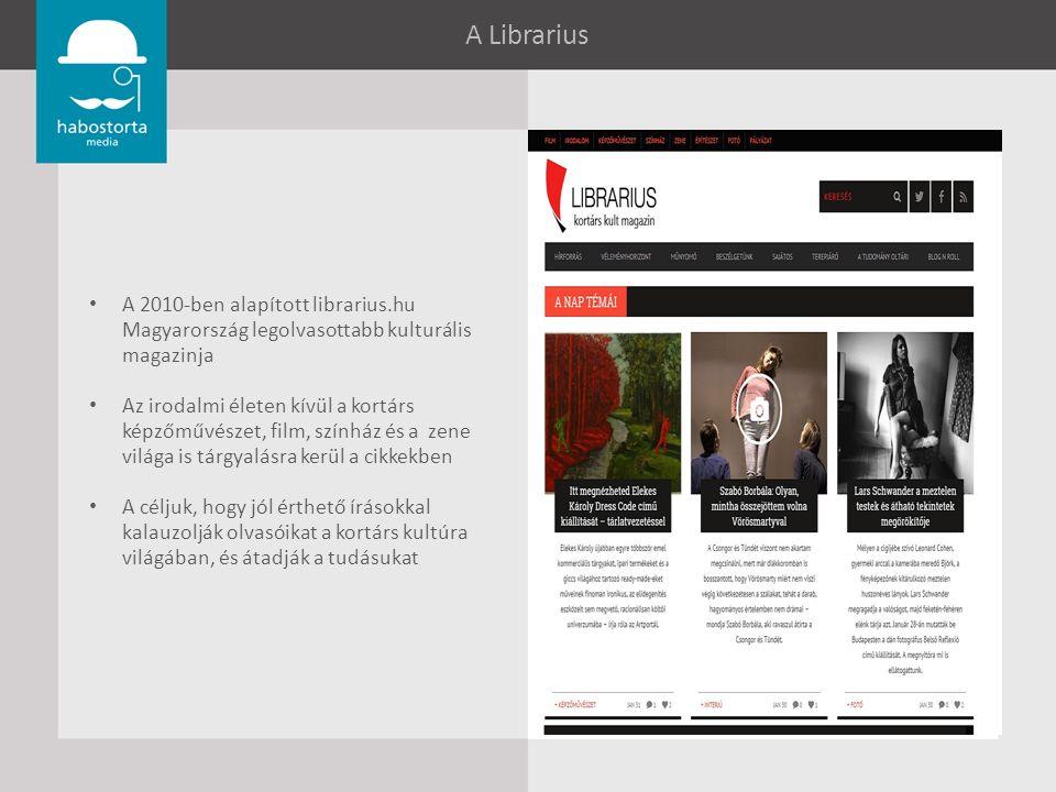 A Librarius A 2010-ben alapított librarius.hu Magyarország legolvasottabb kulturális magazinja Az irodalmi életen kívül a kortárs képzőművészet, film, színház és a zene világa is tárgyalásra kerül a cikkekben A céljuk, hogy jól érthető írásokkal kalauzolják olvasóikat a kortárs kultúra világában, és átadják a tudásukat