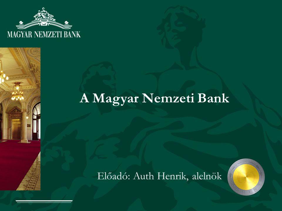 A Magyar Nemzeti Bank Előadó: Auth Henrik, alelnök