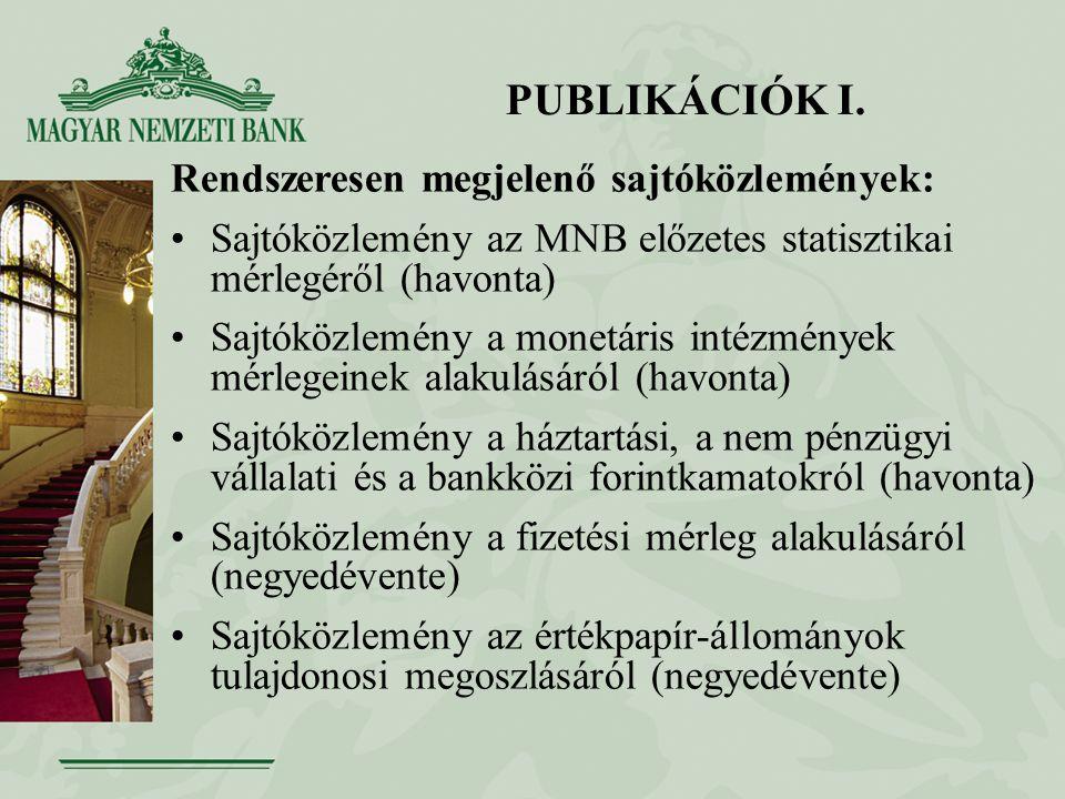 PUBLIKÁCIÓK I. Rendszeresen megjelenő sajtóközlemények: Sajtóközlemény az MNB előzetes statisztikai mérlegéről (havonta) Sajtóközlemény a monetáris in