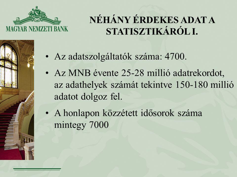 NÉHÁNY ÉRDEKES ADAT A STATISZTIKÁRÓL I. Az adatszolgáltatók száma: 4700.