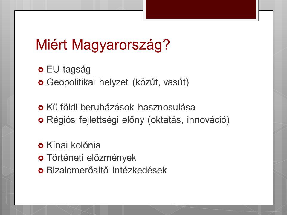 Miért Magyarország?  EU-tagság  Geopolitikai helyzet (közút, vasút)  Külföldi beruházások hasznosulása  Régiós fejlettségi előny (oktatás, innovác