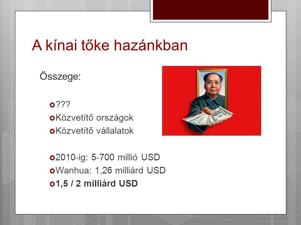 A kínai tőke hazánkban Összege:  ???  Közvetítő országok  Közvetítő vállalatok  2010-ig: 5-700 millió USD  Wanhua: 1,26 milliárd USD  1,5 / 2 mi