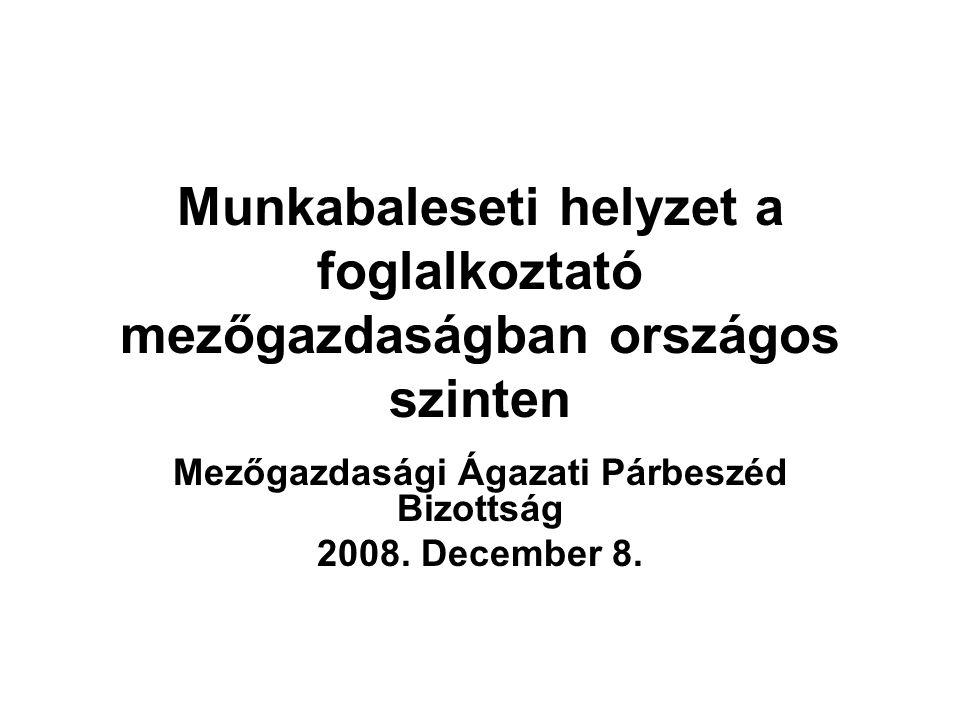 Munkabaleseti helyzet a foglalkoztató mezőgazdaságban országos szinten Mezőgazdasági Ágazati Párbeszéd Bizottság 2008.