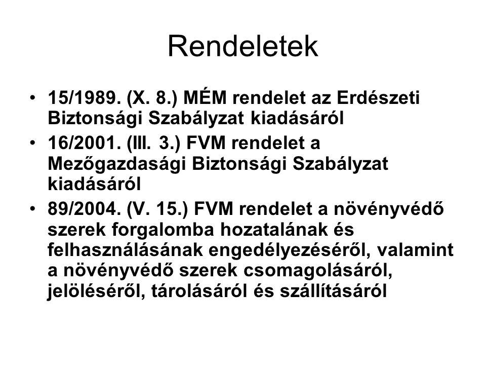 Rendeletek 15/1989. (X. 8.) MÉM rendelet az Erdészeti Biztonsági Szabályzat kiadásáról 16/2001.