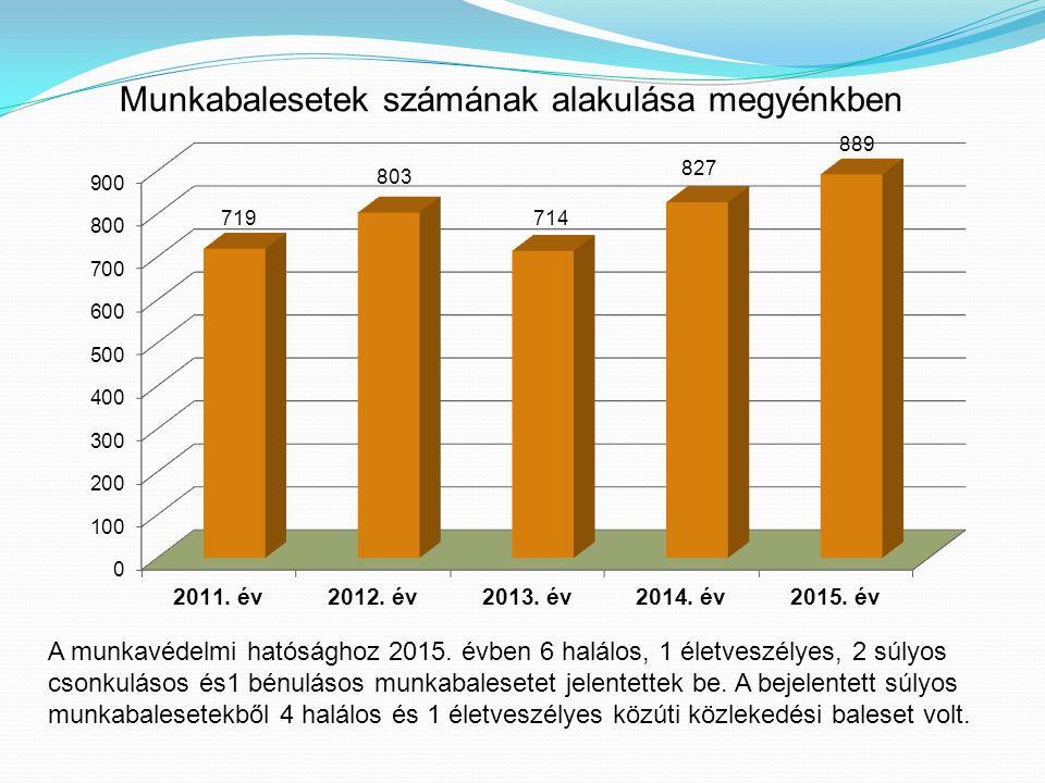 Munkabalesetek számának alakulása megyénkben A munkavédelmi hatósághoz 2015.