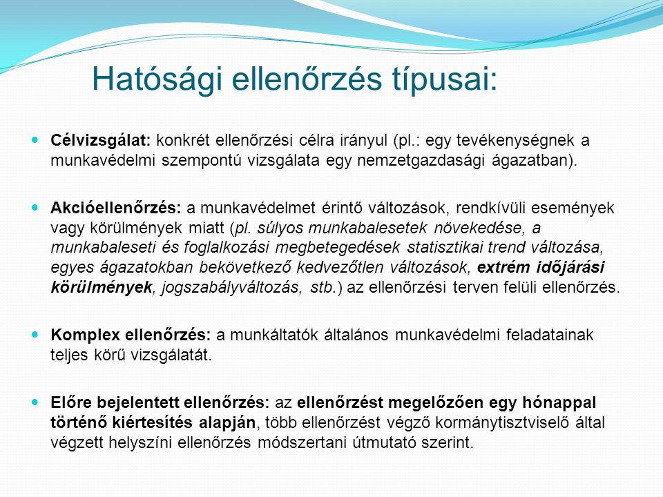 Hatósági ellenőrzés típusai: Célvizsgálat: konkrét ellenőrzési célra irányul (pl.: egy tevékenységnek a munkavédelmi szempontú vizsgálata egy nemzetgazdasági ágazatban).