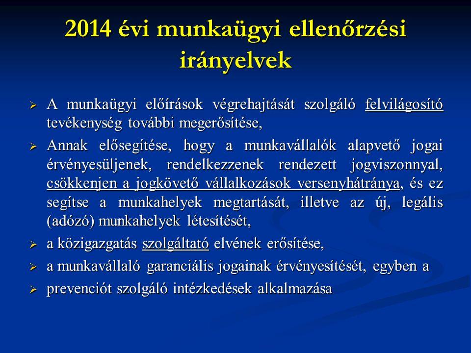 2014 évi munkaügyi ellenőrzési irányelvek  A munkaügyi előírások végrehajtását szolgáló felvilágosító tevékenység további megerősítése,  Annak elősegítése, hogy a munkavállalók alapvető jogai érvényesüljenek, rendelkezzenek rendezett jogviszonnyal, csökkenjen a jogkövető vállalkozások versenyhátránya, és ez segítse a munkahelyek megtartását, illetve az új, legális (adózó) munkahelyek létesítését,  a közigazgatás szolgáltató elvének erősítése,  a munkavállaló garanciális jogainak érvényesítését, egyben a  prevenciót szolgáló intézkedések alkalmazása