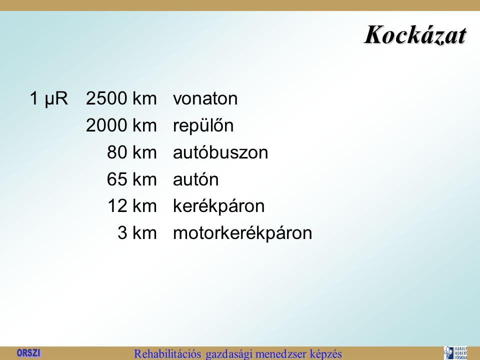 Kockázat 1 μR2500kmvonaton 2000kmrepülőn 80kmautóbuszon 65kmautón 12kmkerékpáron 3kmmotorkerékpáron