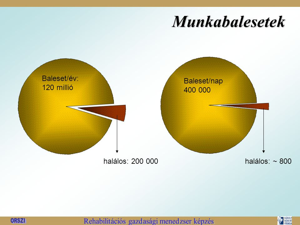 Munkabalesetek halálos: 200 000 Baleset/év: 120 millió halálos: ~ 800 Baleset/nap 400 000