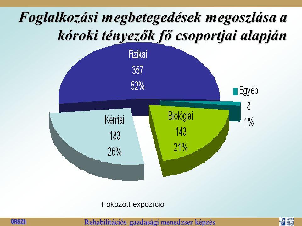 Foglalkozási megbetegedések megoszlása a kóroki tényezők fő csoportjai alapján Fokozott expozíció