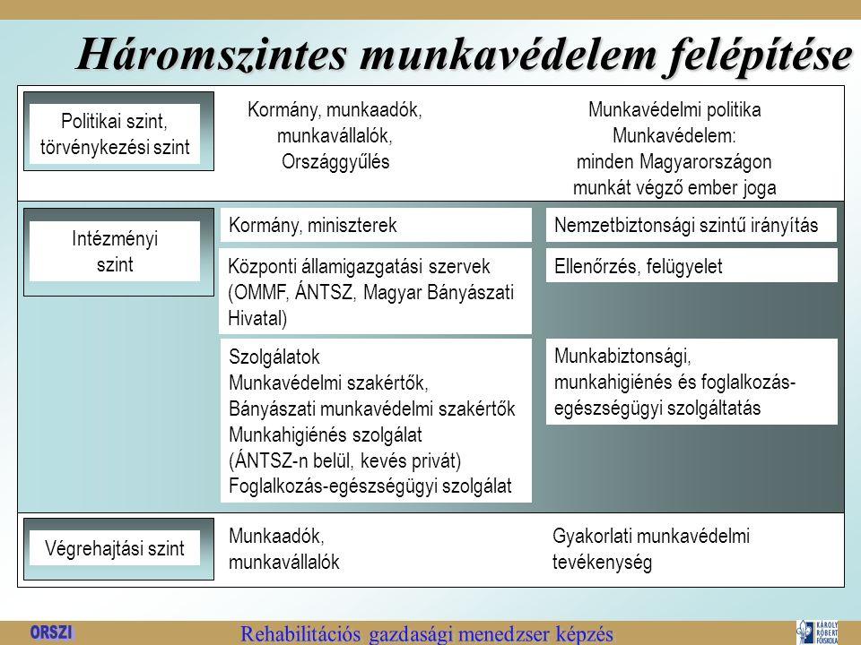 Háromszintes munkavédelem felépítése Politikai szint, törvénykezési szint Kormány, munkaadók, munkavállalók, Országgyűlés Munkavédelmi politika Munkavédelem: minden Magyarországon munkát végző ember joga Intézményi szint Kormány, miniszterek Központi államigazgatási szervek (OMMF, ÁNTSZ, Magyar Bányászati Hivatal) Szolgálatok Munkavédelmi szakértők, Bányászati munkavédelmi szakértők Munkahigiénés szolgálat (ÁNTSZ-n belül, kevés privát) Foglalkozás-egészségügyi szolgálat Nemzetbiztonsági szintű irányítás Ellenőrzés, felügyelet Munkabiztonsági, munkahigiénés és foglalkozás- egészségügyi szolgáltatás Végrehajtási szint Munkaadók, munkavállalók Gyakorlati munkavédelmi tevékenység