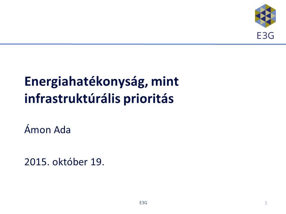 E3G Energiahatékonyság, mint infrastruktúrális prioritás Ámon Ada 2015. október 19. 1