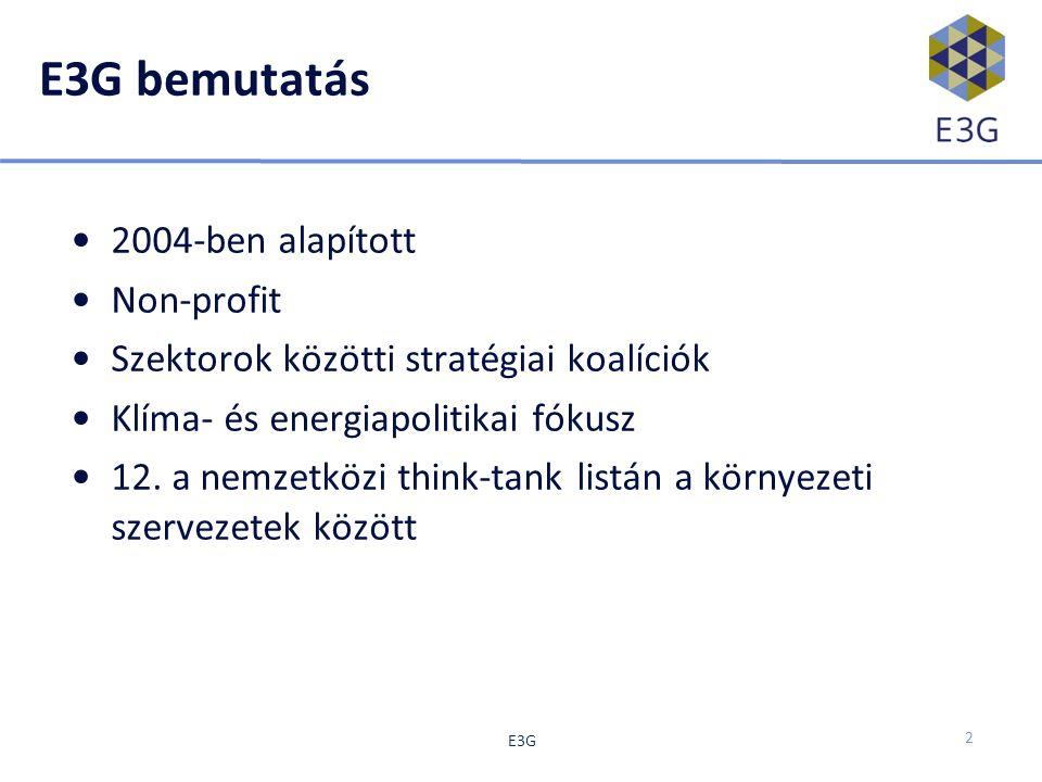 E3G bemutatás 2004-ben alapított Non-profit Szektorok közötti stratégiai koalíciók Klíma- és energiapolitikai fókusz 12.