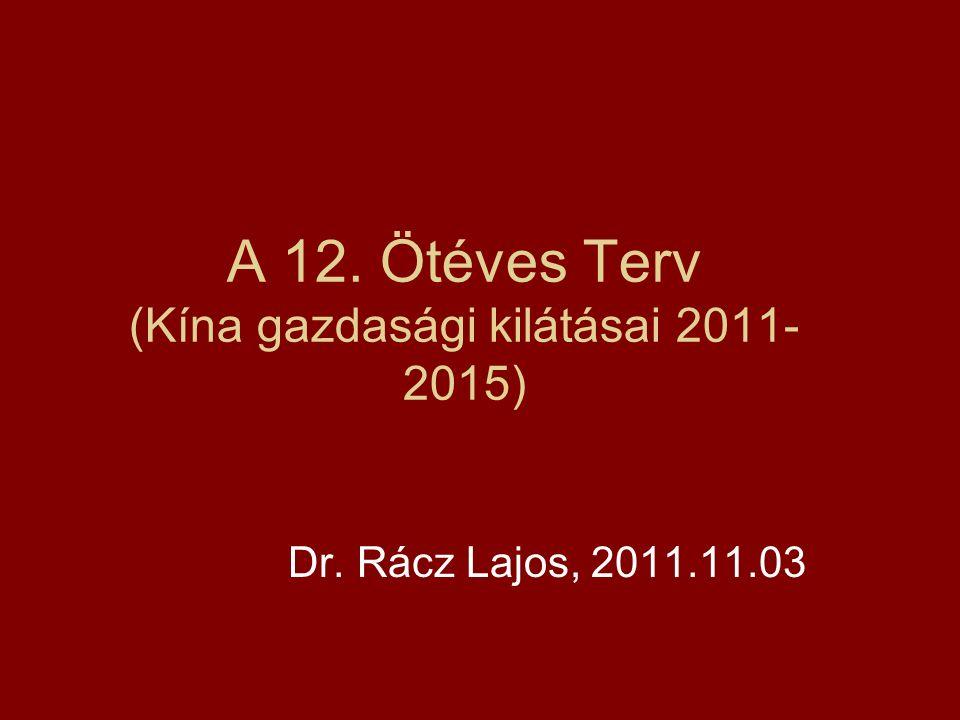 A 12. Ötéves Terv (Kína gazdasági kilátásai 2011- 2015) Dr. Rácz Lajos, 2011.11.03