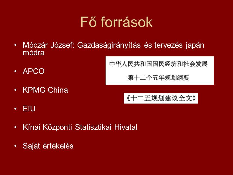 Fő források Móczár József: Gazdaságirányítás és tervezés japán módra APCO KPMG China EIU Kínai Központi Statisztikai Hivatal Saját értékelés