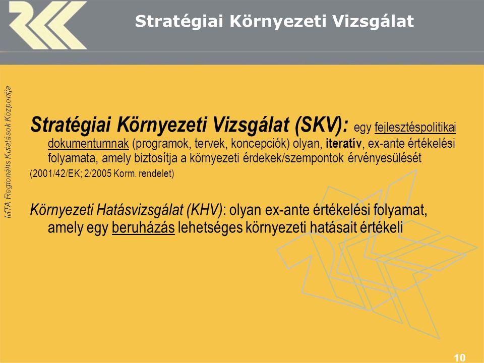 MTA Regionális Kutatások Központja 10 Stratégiai Környezeti Vizsgálat Stratégiai Környezeti Vizsgálat (SKV): egy fejlesztéspolitikai dokumentumnak (programok, tervek, koncepciók) olyan, iteratív, ex-ante értékelési folyamata, amely biztosítja a környezeti érdekek/szempontok érvényesülését (2001/42/EK; 2/2005 Korm.