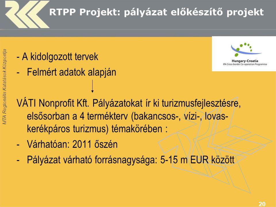 MTA Regionális Kutatások Központja 20 RTPP Projekt: pályázat előkészítő projekt - A kidolgozott tervek -Felmért adatok alapján VÁTI Nonprofit Kft.