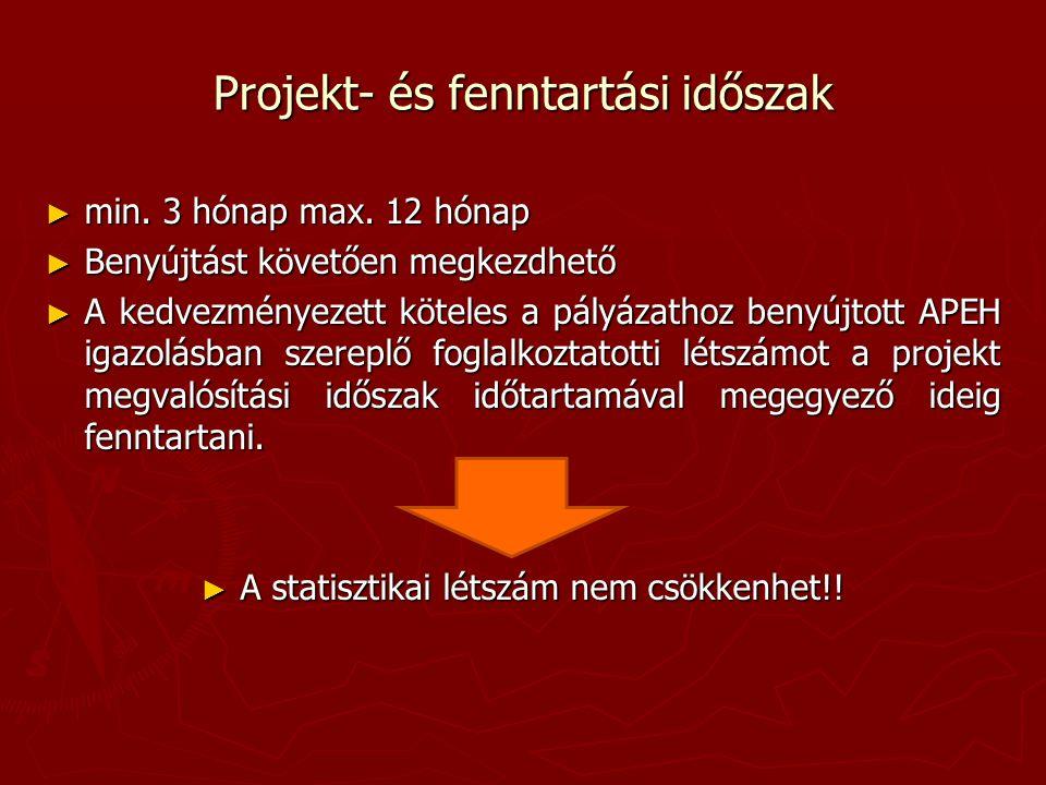 Projekt- és fenntartási időszak ► min. 3 hónap max.