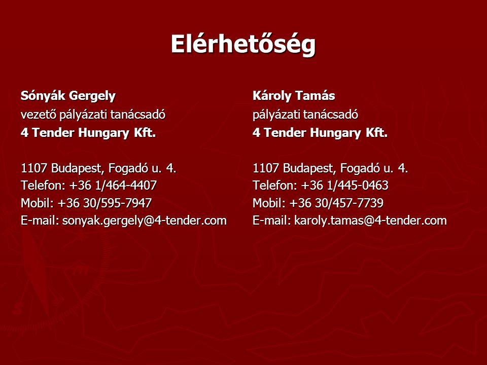 Elérhetőség Sónyák Gergely vezető pályázati tanácsadó 4 Tender Hungary Kft.