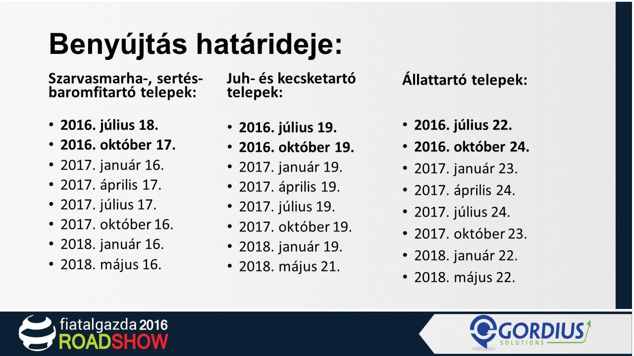 Benyújtás határideje: Szarvasmarha-, sertés- baromfitartó telepek: 2016.