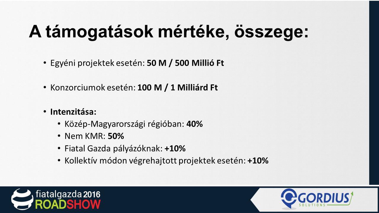 A támogatások mértéke, összege: Egyéni projektek esetén: 50 M / 500 Millió Ft Konzorciumok esetén: 100 M / 1 Milliárd Ft Intenzitása: Közép-Magyarországi régióban: 40% Nem KMR: 50% Fiatal Gazda pályázóknak: +10% Kollektív módon végrehajtott projektek esetén: +10%