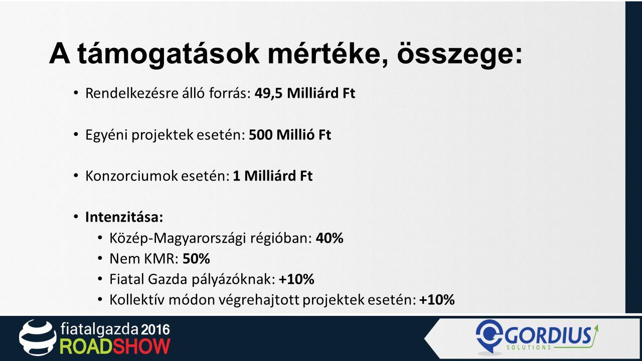 A támogatások mértéke, összege: Rendelkezésre álló forrás: 49,5 Milliárd Ft Egyéni projektek esetén: 500 Millió Ft Konzorciumok esetén: 1 Milliárd Ft Intenzitása: Közép-Magyarországi régióban: 40% Nem KMR: 50% Fiatal Gazda pályázóknak: +10% Kollektív módon végrehajtott projektek esetén: +10%
