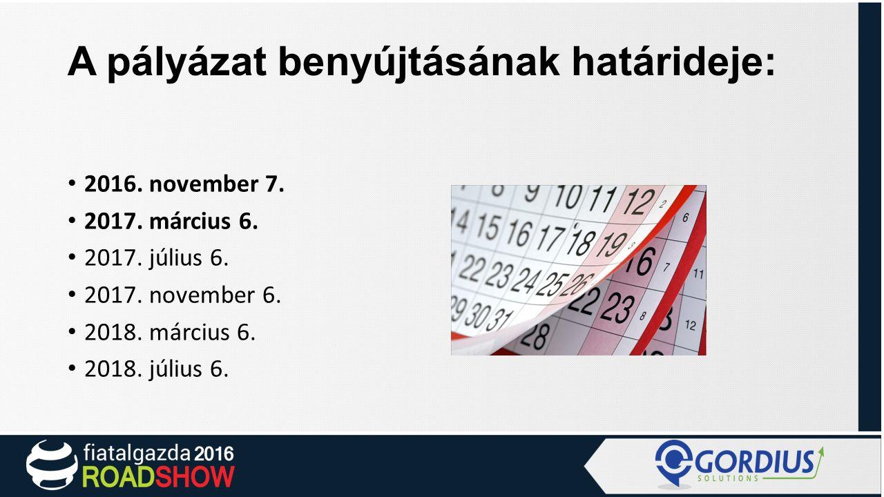 A pályázat benyújtásának határideje: 2016. november 7.