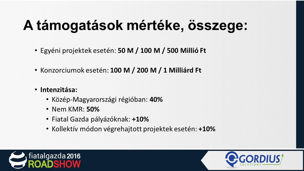 A támogatások mértéke, összege: Egyéni projektek esetén: 50 M / 100 M / 500 Millió Ft Konzorciumok esetén: 100 M / 200 M / 1 Milliárd Ft Intenzitása: Közép-Magyarországi régióban: 40% Nem KMR: 50% Fiatal Gazda pályázóknak: +10% Kollektív módon végrehajtott projektek esetén: +10%